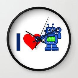 I heart robot, robot listen to my heart Wall Clock