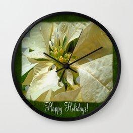 Pale Yellow Poinsettia 1 Happy Holidays P1F1 Wall Clock