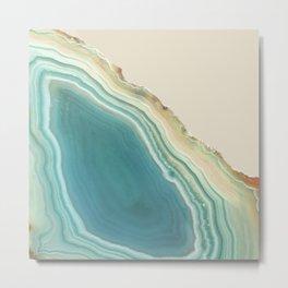 Geode Turquoise + Cream Metal Print