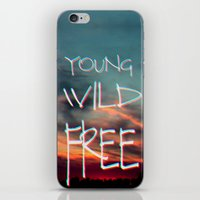 neil young iPhone & iPod Skins featuring YOUNG by Monika Strigel