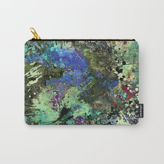 Deep In Thought - Black, blue, purple, white, abstract, acrylic paint splatter artwork Carry-All Pouch