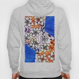 Spring colorful flowers collage, blue, orange Hoody