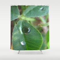 clover Shower Curtains featuring Clover by Miss Meow