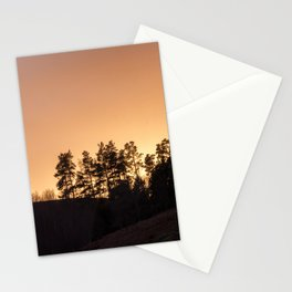 sunset silhouette trees Stationery Cards