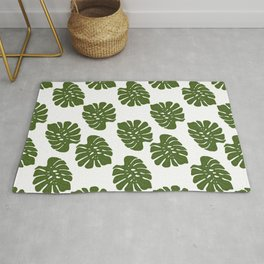 Green Leaves - Seamless Pattern, White Background Rug