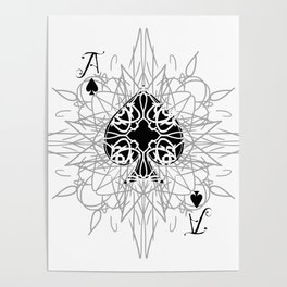 Tribal Mandala Watermark Ace of Spades Poster