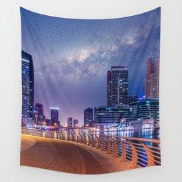 Dubai Nights with Milky Way Wall Tapestry