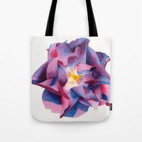 thanksgiving Tote Bags featuring Thanksgiving Dahlia by Powers Fine Art Watercolor Studio