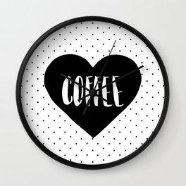 Coffee Heart - Black Wall Clock