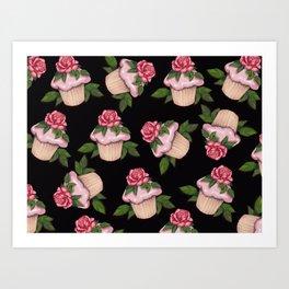Cupcakes in Random Pattern on Black Background Art Print