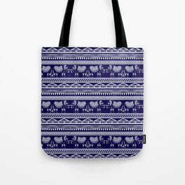 White and Navy Blue Elephant Pattern Tote Bag