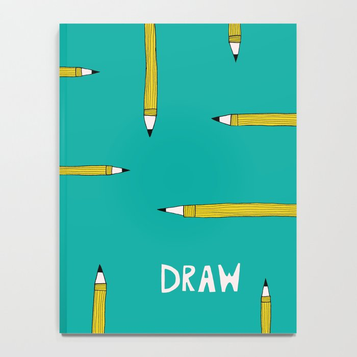 Teal and Mustard Yellow Pencils Sketchbook for Artists Notebook
