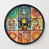 namaste Wall Clocks featuring ~ Namaste ~  by Artistic Environments