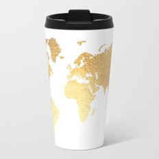 Textured Gold Map Travel Mug