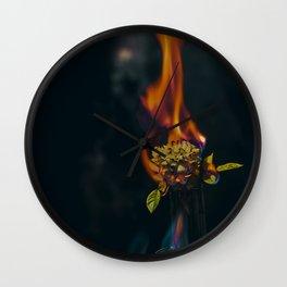 Fire on a Flower Wall Clock