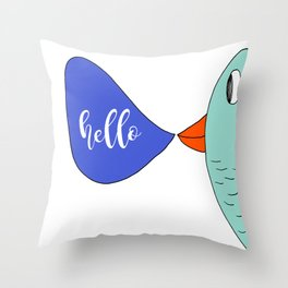 Hello Colorful Bird Drawing by Emma Freeman Designs Throw Pillow