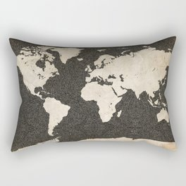 World Map - Ink lines Rectangular Pillow