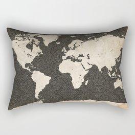 World Map - Ink lines Rectangular Pillow
