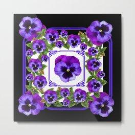 SPRING PURPLE PANSY FLOWERS  BLACK GARDEN ART Metal Print
