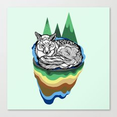 Snuggly fox Canvas Print