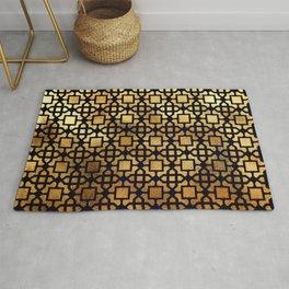 Luxurious Gold-Bronze Islamic Geometric Pattern Rug