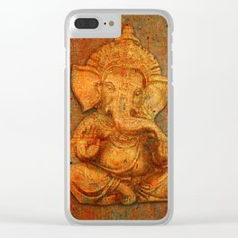 Lord Ganesh On a Distress Stone Background Clear iPhone Case