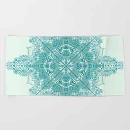 Blue Mandala Design Beach Towel