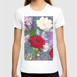 Red rose, orchid red fruits vibrant colorful pattern T-shirt