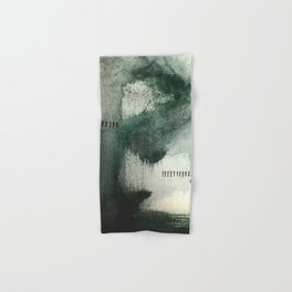 Last Kiss: a minimal, abstract watercolor piece in greens Hand & Bath Towel