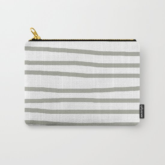 Simply Drawn Stripes Retro Gray on White Carry-All Pouch