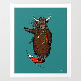 Surfing Yak Art Print Art Print