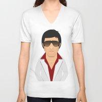 montana V-neck T-shirts featuring Tony Montana by Capitoni