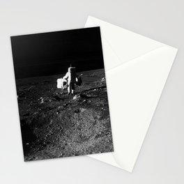 Astronaut Edwin E Aldrin Jr lunar module pilot is photographed with scientific equipment Stationery Cards