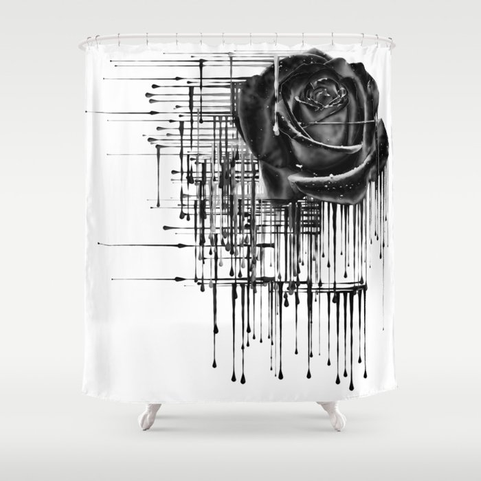 Dripping Black Rose Shower Curtain