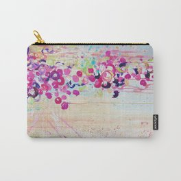 DANCE OF THE SAKURA - Lovely Floral Abstract Japanese Cherry Blossoms Painting, Feminine Peach Blue  Carry-All Pouch