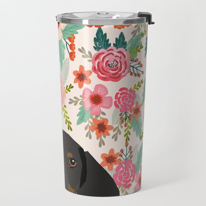 Dachshund floral dog head cute doxie must have pure breed weener dog gifts Travel Mug