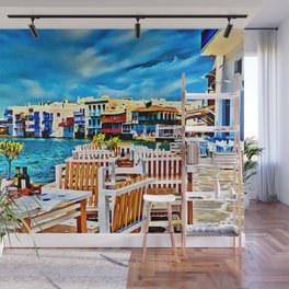 Cyclades Islands Digital Painting Wall Mural