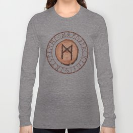 Mannaz - Wooden Celtic Rune of self, individuals, universe, family, loved ones, friends, devoted Long Sleeve T-shirt