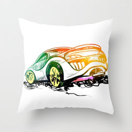 Speed sketch graffiti sport car in green and orange colors Throw Pillow
