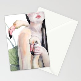 Rosy, the girl with the flamingo soul Stationery Cards