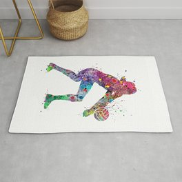 Volleyball Girl Watercolor Print Girls Room Decor Volleyball Poster Girl Volleyball Wall Art Rug