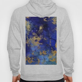 Gold And Blue Indigo Malachite Marble Hoody