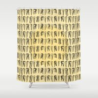 teeth Shower Curtains featuring Teeth Pattern by DIVIDUS