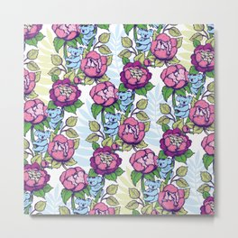 Peony flowers and koalas bears Metal Print