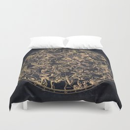 Vintage Constellations & Astrological Signs | Yellowed Ink & Cosmic Colour Duvet Cover