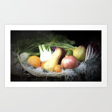 fruit and vegetables in the basket Art Print