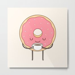donut loves coffee Metal Print