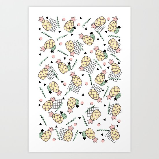 Funky Pineapple Fruit Retro Memphis Disco Pop Design Art Print