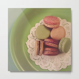 Macarons on Green Metal Print