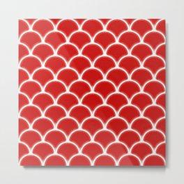 Large scallops in fabulous fiesta red Metal Print